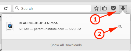 Click the download button, and then the locator button.